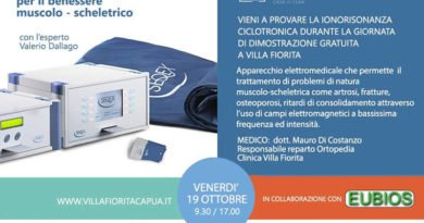 Benessere muscolo-scheletrico, venerdì 19 ottobre giornata dimostrativa gratuita a Villa Fiorita di Capua