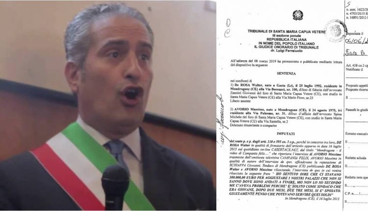 Mondragone, campagna diffamatoria nei confronti dell'allora sindaco Giovanni Schiappa